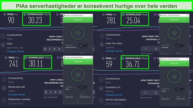 Screenshots af Ookla-hastighedstest med PIA tilsluttet forskellige globale servere.