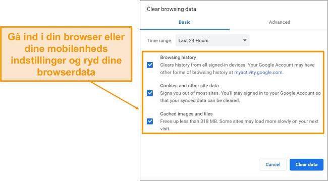 Skærmbillede af cache og browserhistorik.