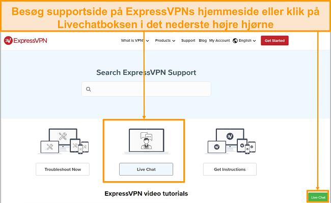 Skærmbillede af ExpressVPN live chat support.