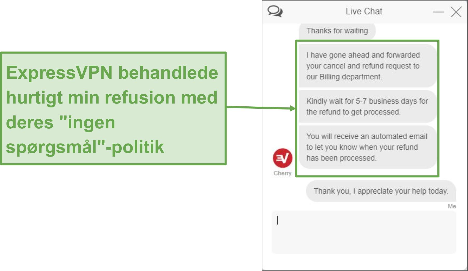 Skærmbillede af anmodning om refusion via live chat.