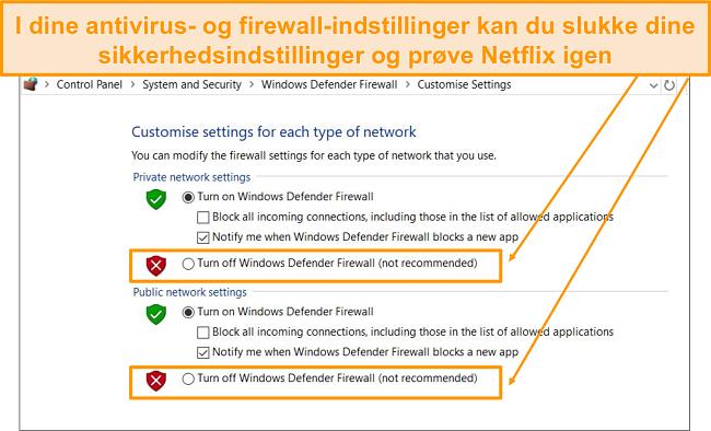 Skærmbillede af firewall og sikkerhedsindstillinger.