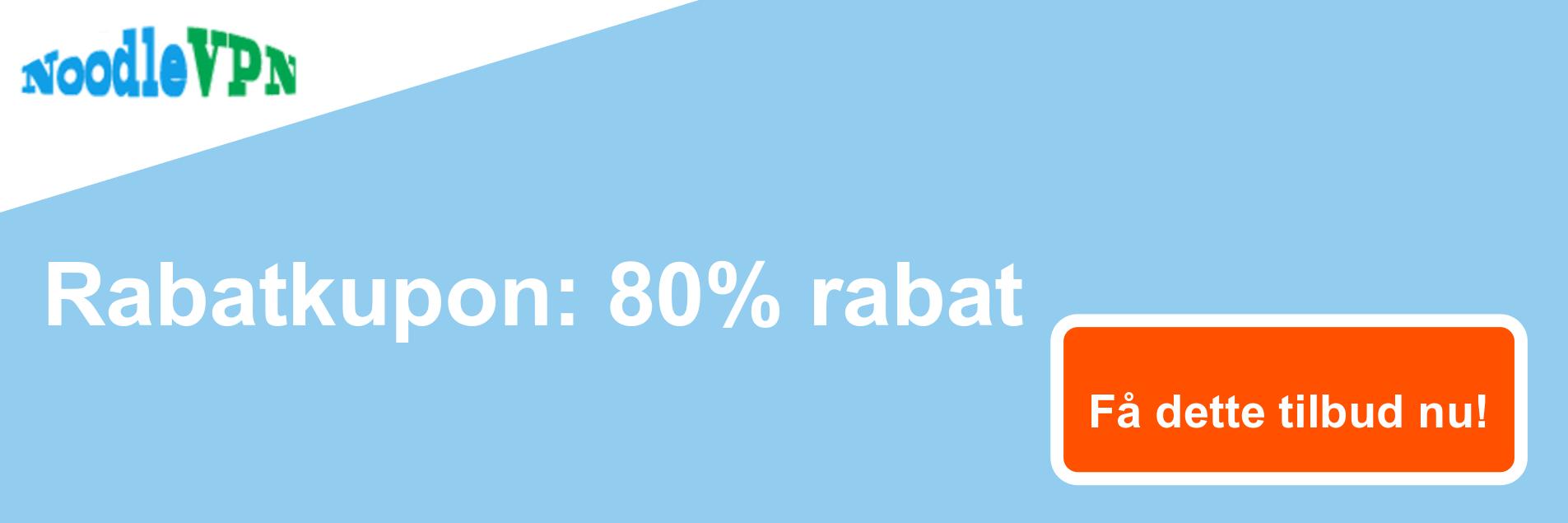 NoodleVPN-kuponbanner - 80% rabat