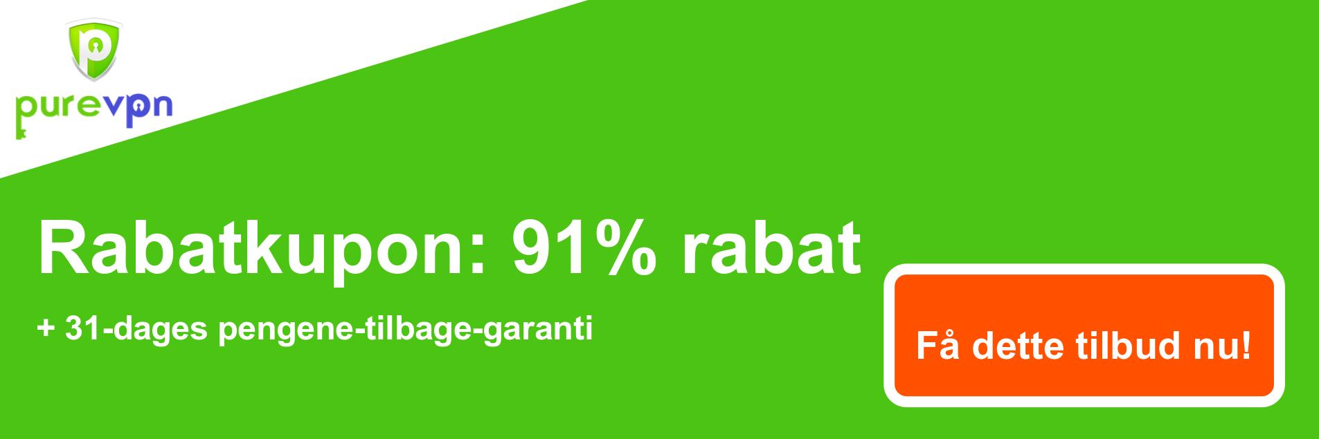 PureVPN-kuponbanner - 91% rabat