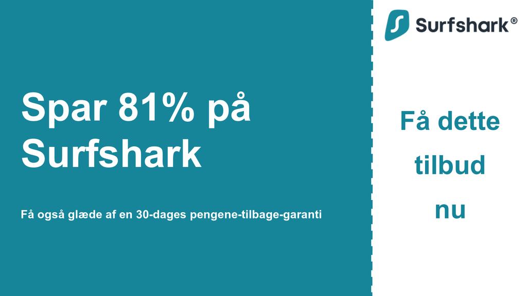 Grafik af Surfshark VPN-hovedkuponbanner, der viser $ 2,49 pr. Måned