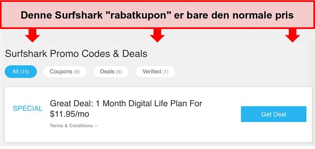 Skærmbillede af falske Surfshark-kampagnekoder og tilbud