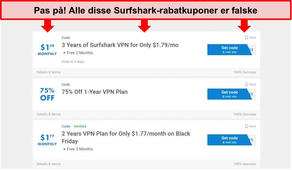 Skærmbillede af falske Surfshark-kuponer