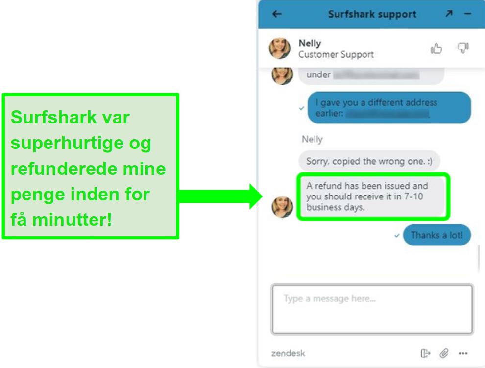 Anmodning om refusion via Surfsharks live chat