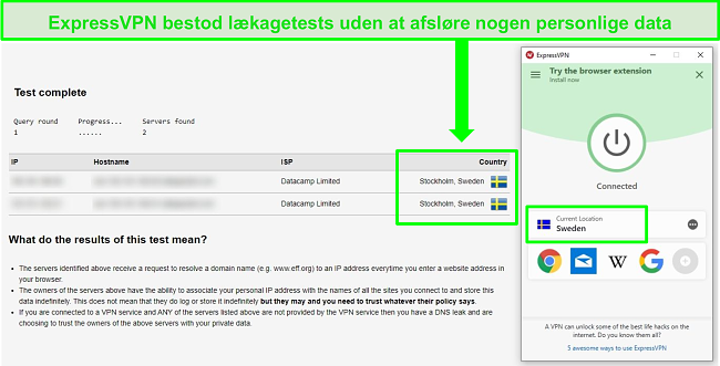Skærmbillede af ExpressVPN, der bestod en DNS-lækagetest, mens den er tilsluttet svenske servere
