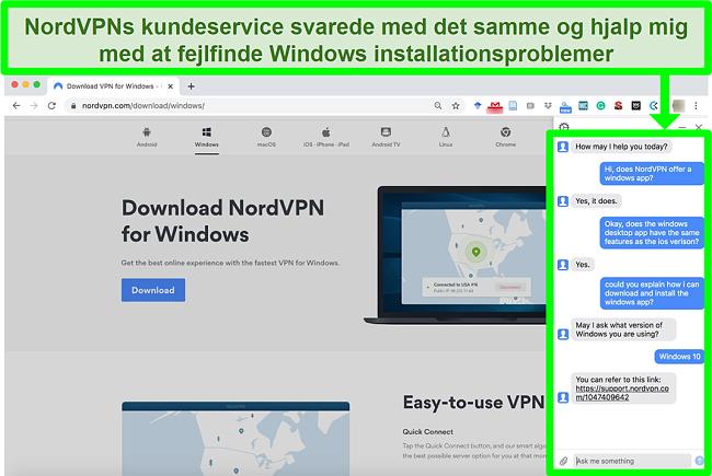 Skærmbillede af en NordVPNs kundeservice, der hjælper med Windows installationsprocessen.