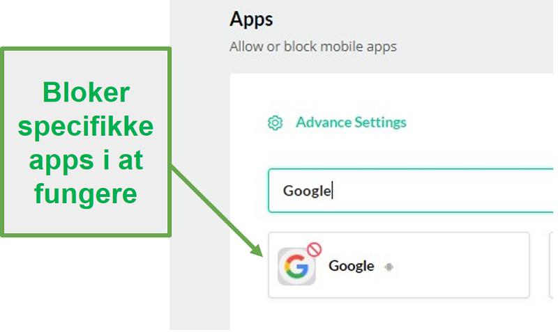 Mobicip blokerer apps