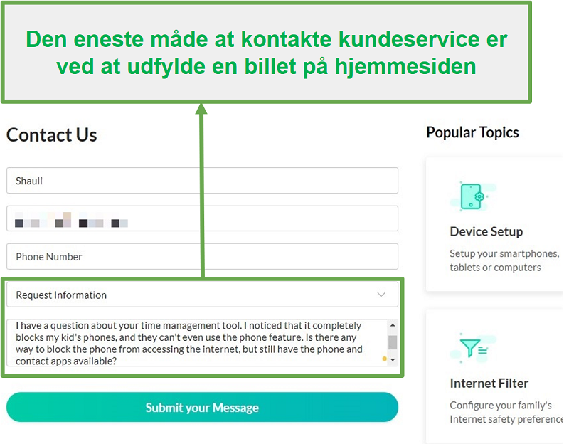 Mobicip kundeservice