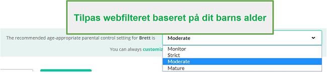 Mobicip filterindstillinger