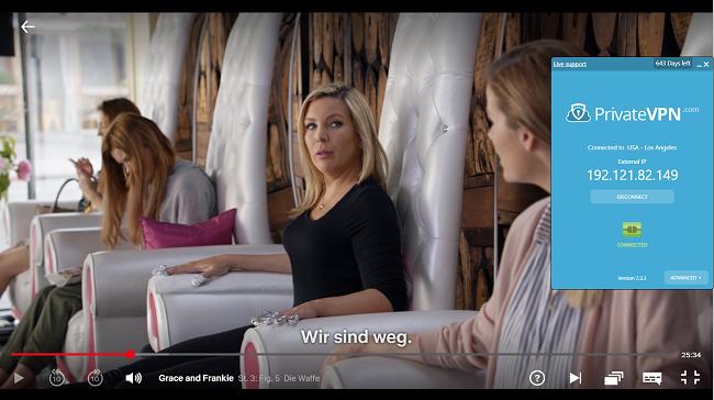 Screenshot von PrivateVPN, das mit Grace und Frankie auf Netflix US verbunden ist und mit dem US-Server verbunden ist