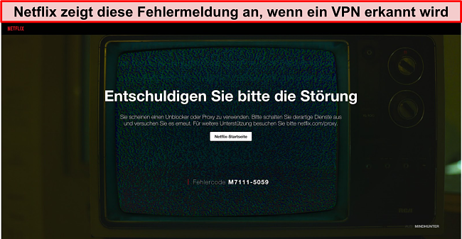 Screenshot der Netflix-Fehlermeldung bei Verwendung eines VPN, Proxys oder Entsperrers