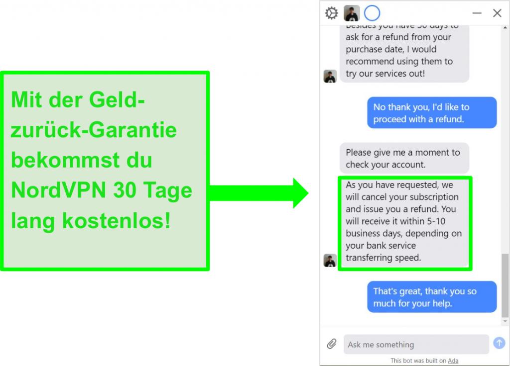 Screenshot eines Benutzers, der NordVPN um eine Rückerstattung mit der 30-tägigen Geld-zurück-Garantie im Live-Chat bittet