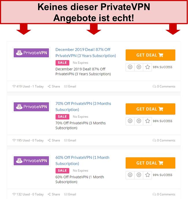 Screenshot von PrivateVPN-Deals mit falschen Preisen