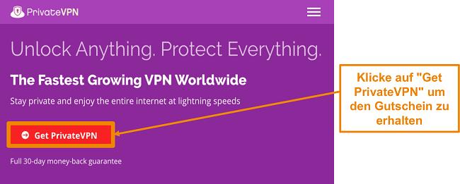 Screenshot des Startbildschirms von PrivateVPN mit a