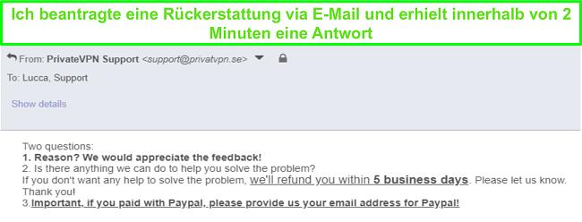 Screenshot von PrivateVPN, der schnell auf meine Rückerstattungsanfrage per E-Mail reagiert