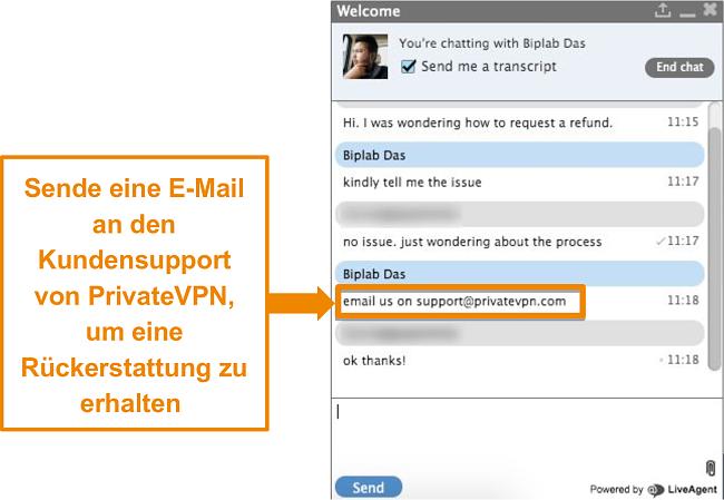 Screenshot eines PrivateVPN-Live-Chat-Agenten mit Anweisungen zum Senden einer Rückerstattungsanforderung per E-Mail