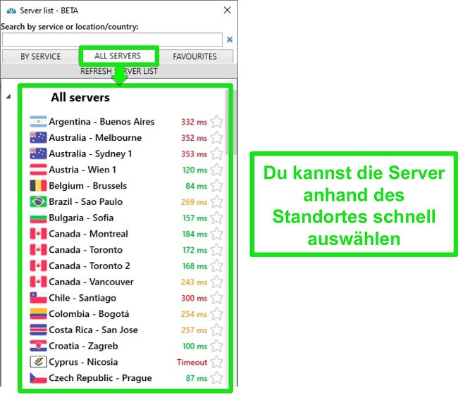 Screenshot der PrivateVPN-Serverstandorte in der Liste