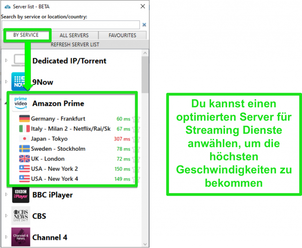 Screenshot der Streaming-Serveroptionen für PrivateVPN