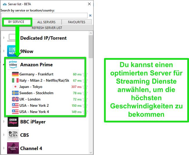 Screenshot der Streaming-Serveroptionen für PrivateVPN