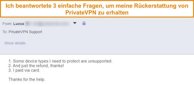 Screenshot der Antworten, um eine PrivateVPN-Rückerstattung per E-Mail anzufordern