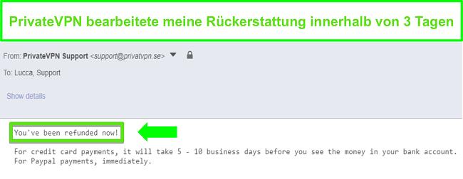 Screenshot der Antwort von PrivateVPN nach Bearbeitung einer Rückerstattung