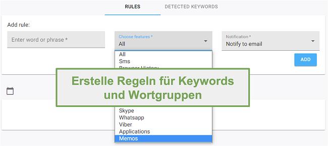 Screenshot der Regeln für Schlüsselwörter und Phrasen