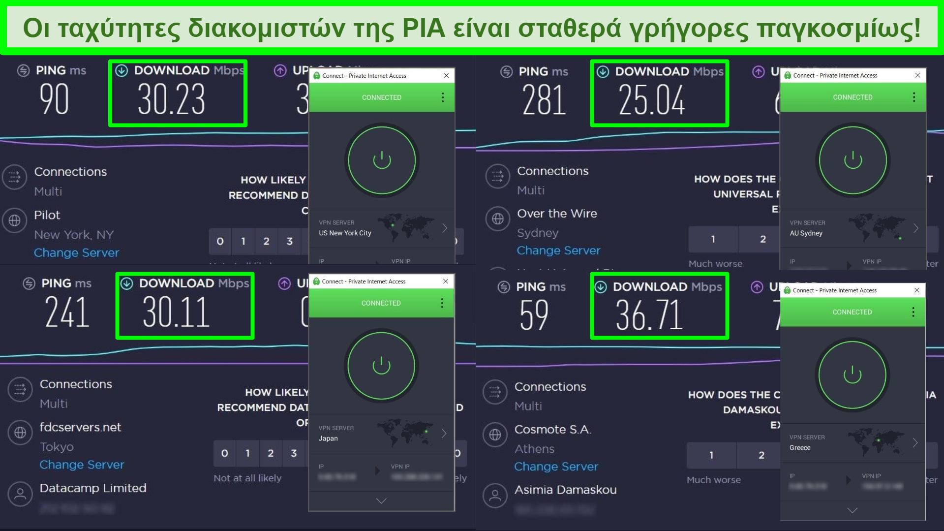 Στιγμιότυπα οθόνης δοκιμών ταχύτητας Ookla με PIA συνδεδεμένο σε διαφορετικούς παγκόσμιους διακομιστές.