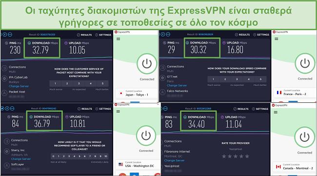 Στιγμιότυπο οθόνης των αποτελεσμάτων δοκιμής ταχύτητας ExpressVPN.