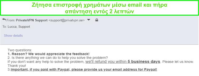 Στιγμιότυπο οθόνης του PrivateVPN που απαντά γρήγορα στο αίτημα επιστροφής χρημάτων μέσω email