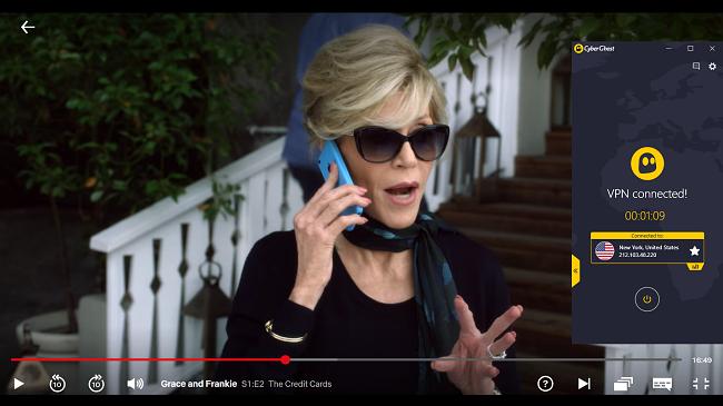 "CyberGhost通过"" Grace and Frankie""在美国Netflix上流式传输连接到美国服务器的屏幕截图"