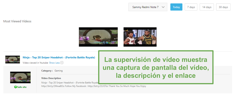 Supervisión de video con Norton Family