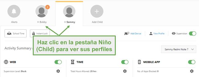 Configure diferentes perfiles de Norton Family para cada niño