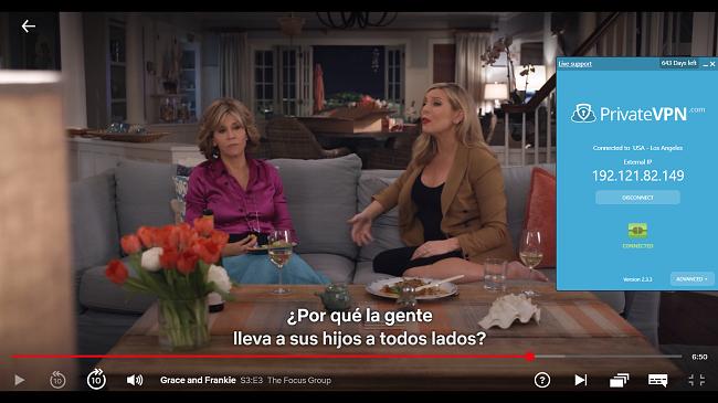 Captura de pantalla de PrivateVPN conectada al servidor de EE. UU. Con Grace y Frankie transmitiendo en Netflix EE. UU.