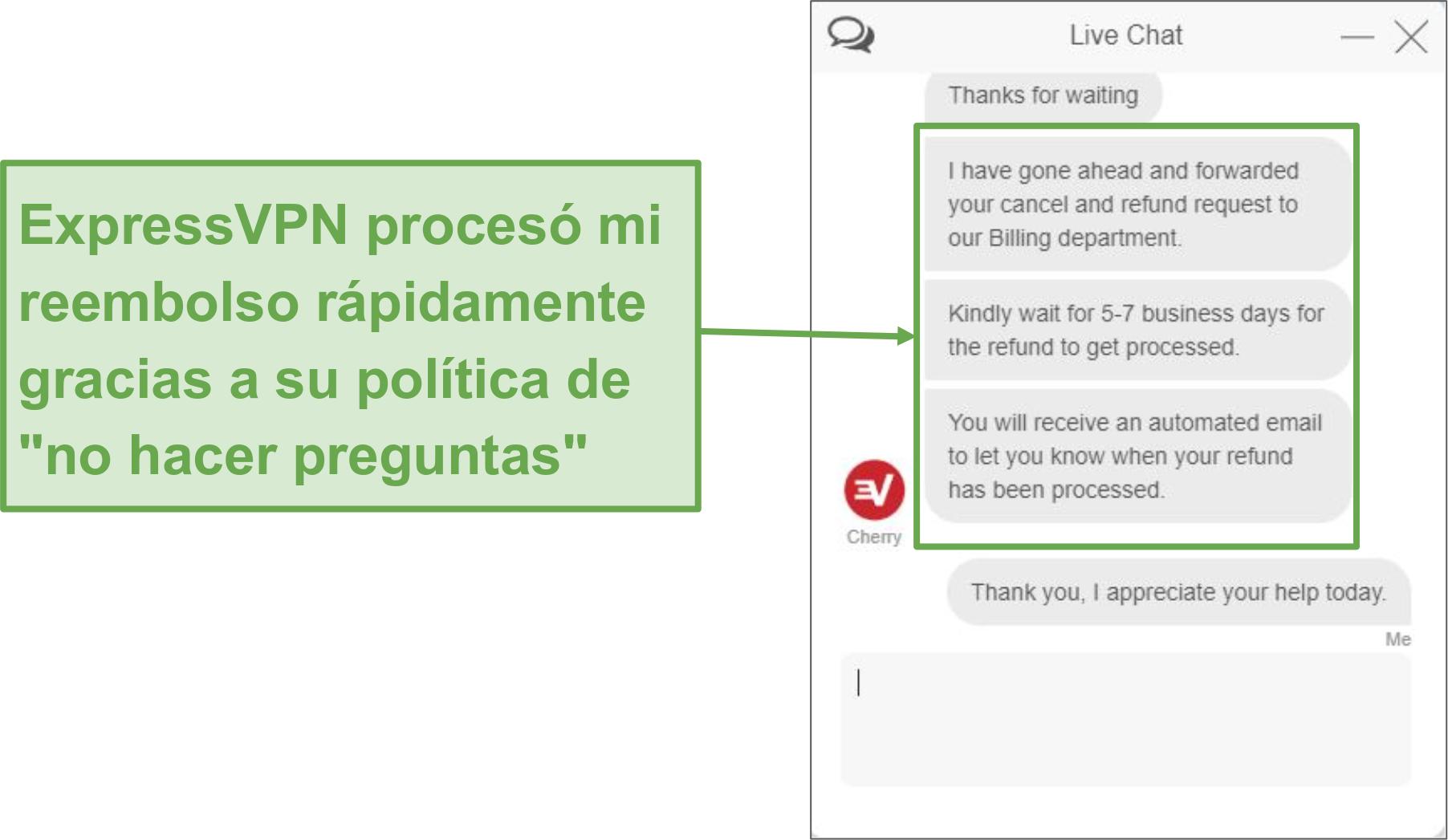 Captura de pantalla de la solicitud de reembolso a través del chat en vivo.