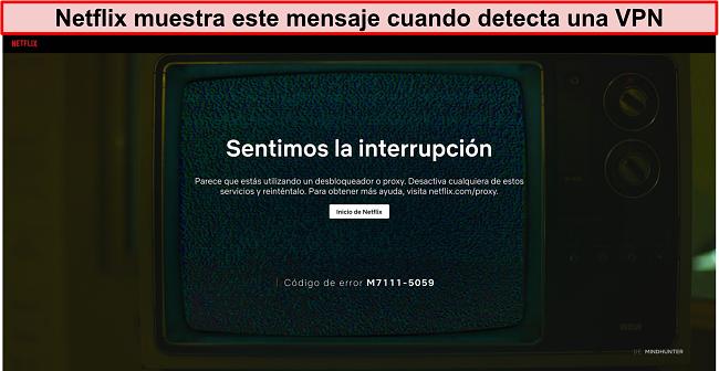 Captura de pantalla del mensaje de error de Netflix cuando se usa una VPN, proxy o desbloqueador