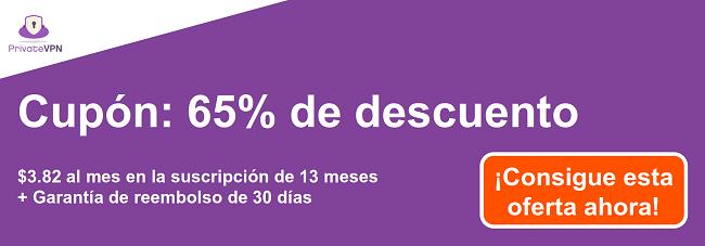 Gráfico de un cupón de PrivateVPN en funcionamiento con un 65% de descuento en una suscripción de 13 meses y una garantía de devolución de dinero de 30 días