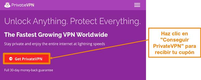 Captura de pantalla de la pantalla de inicio de PrivateVPN con un