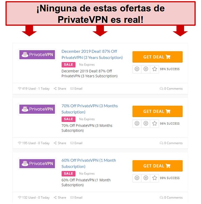 Captura de pantalla de las ofertas de PrivateVPN que muestran precios falsos