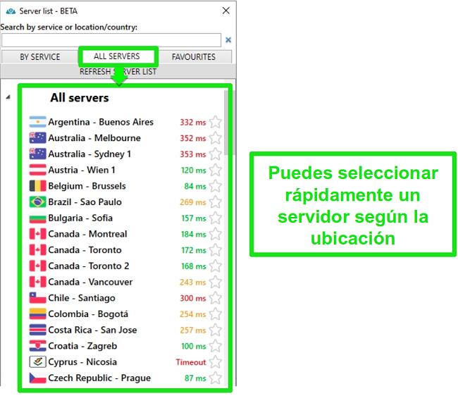 Captura de pantalla de las ubicaciones del servidor PrivateVPN en la lista