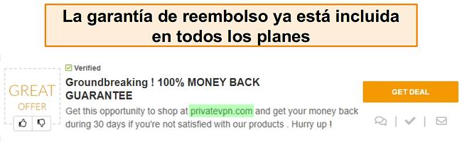 Captura de pantalla de un cupón de PrivateVPN que anuncia una garantía de devolución de dinero como un