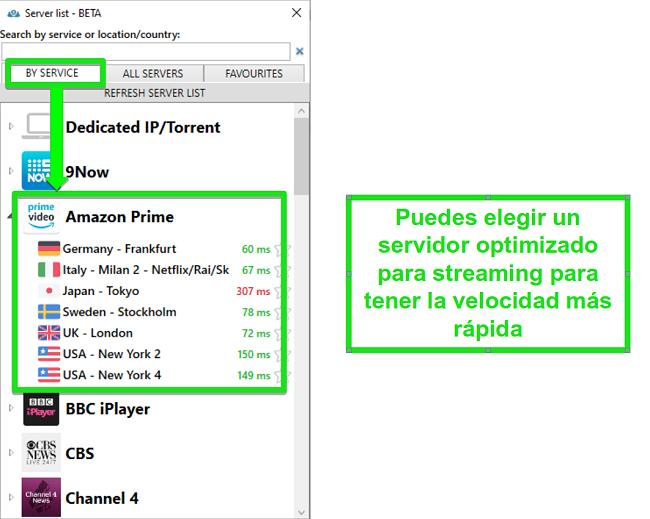 Captura de pantalla de las opciones del servidor de transmisión para PrivateVPN