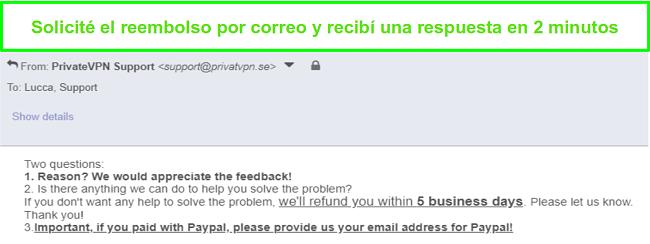 Captura de pantalla de PrivateVPN respondiendo rápidamente a mi solicitud de reembolso por correo electrónico