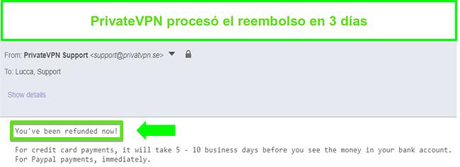 Captura de pantalla de la respuesta de PrivateVPN después de procesar un reembolso