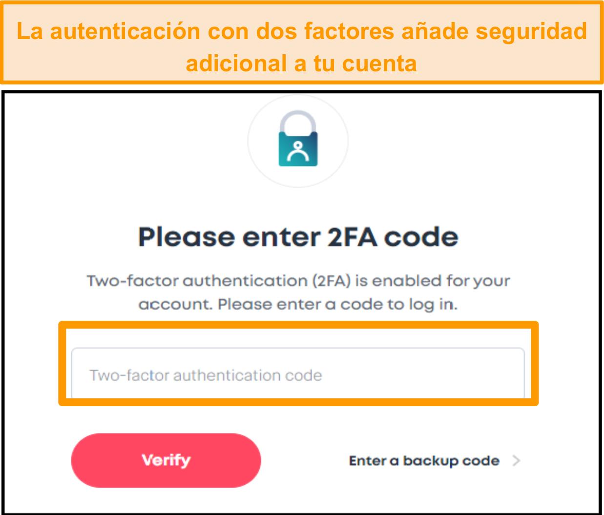 Captura de pantalla de la pantalla de entrada del código 2FA de Surfshark