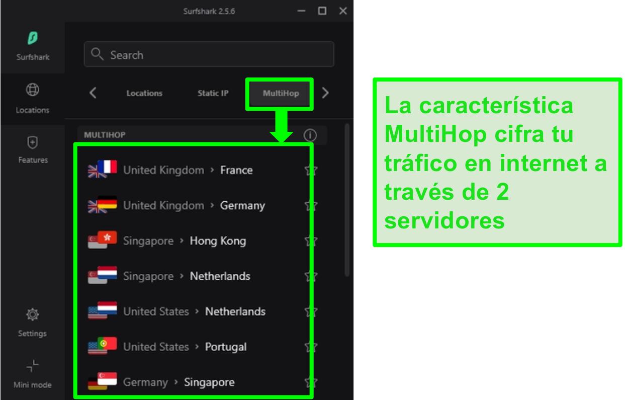 Captura de pantalla de la descripción general del servidor de Surfshark que muestra sus servidores MultiHop
