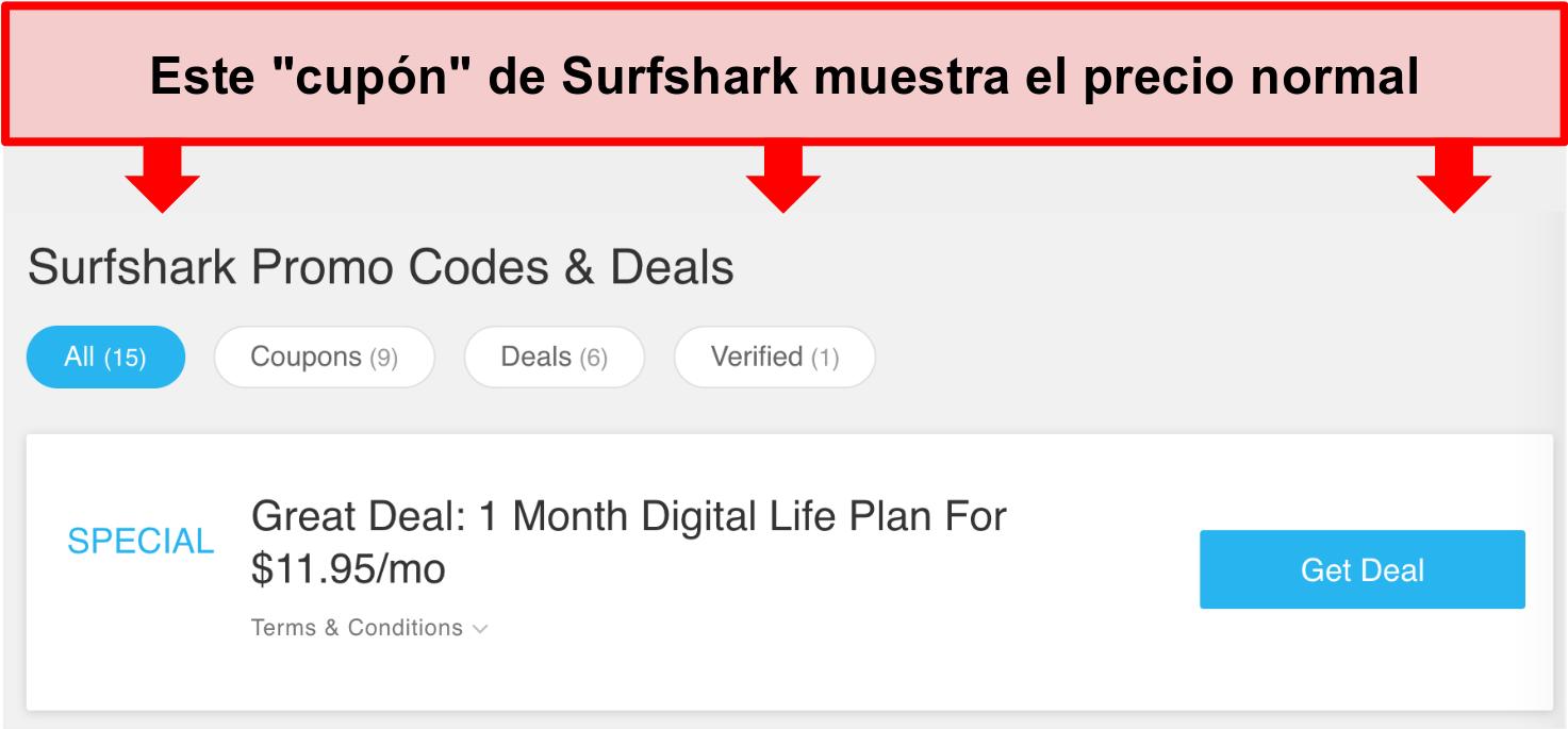 Captura de pantalla de códigos promocionales y ofertas falsas de Surfshark