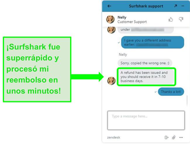 Solicitar un reembolso a través del chat en vivo de Surfshark